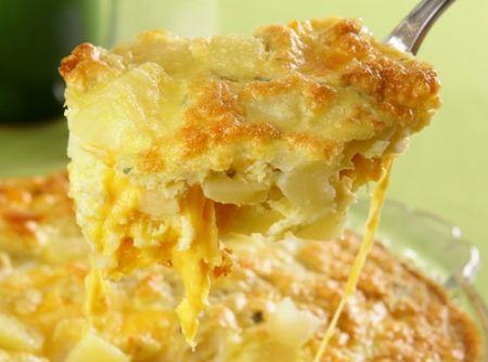 Fritada de Forno de Batata e Queijo - Veja mais em: http://www.cybercook.com.br/receita-de-fritada-de-forno-de-batata-e-queijo.html?codigo=14420