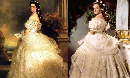 """Left: Empress Sissi of Austria in her wedding dress by Franz Xaver Winterhalter. Right: Romy Schneider as Sissi in wedding dress in the movie """"Sissi - Die junge Kaiserin"""" (Sissi -the young empress), 1956. The costumes were designed by Leo Bei, Gerdag and Franz Szivats."""