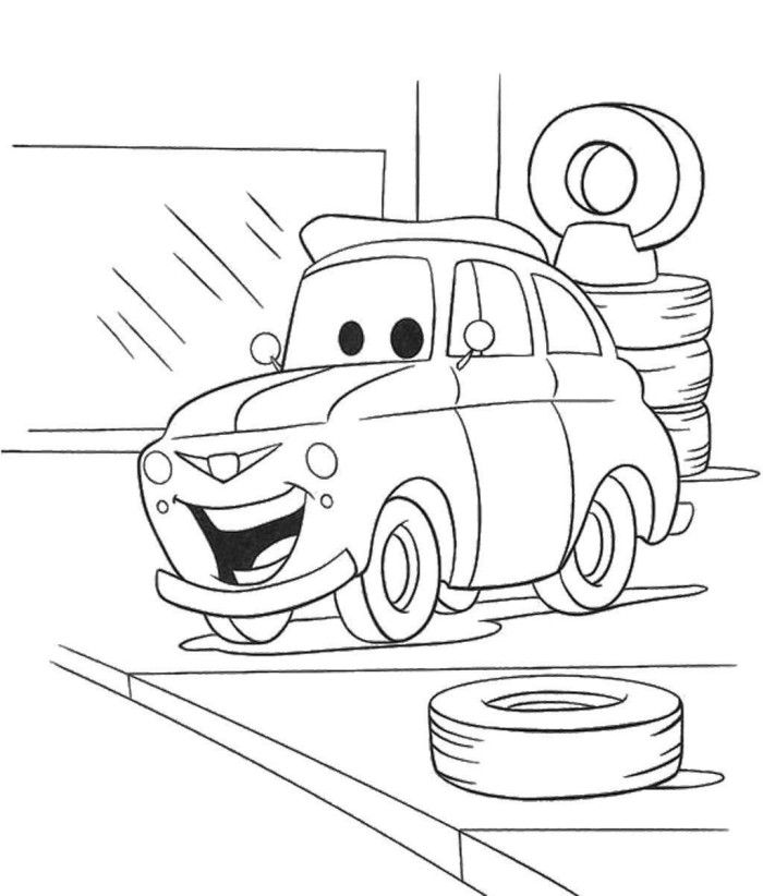 Pixar Change A Tire Coloring Page