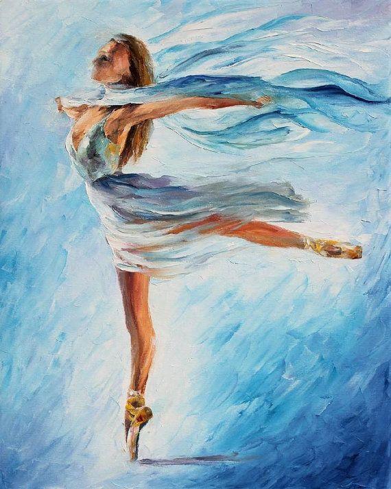 La danse du ciel — couteau à PALETTE Figure peinture à l'huile sur toile par Leonid Afremov - taille : 24 « x 30 »