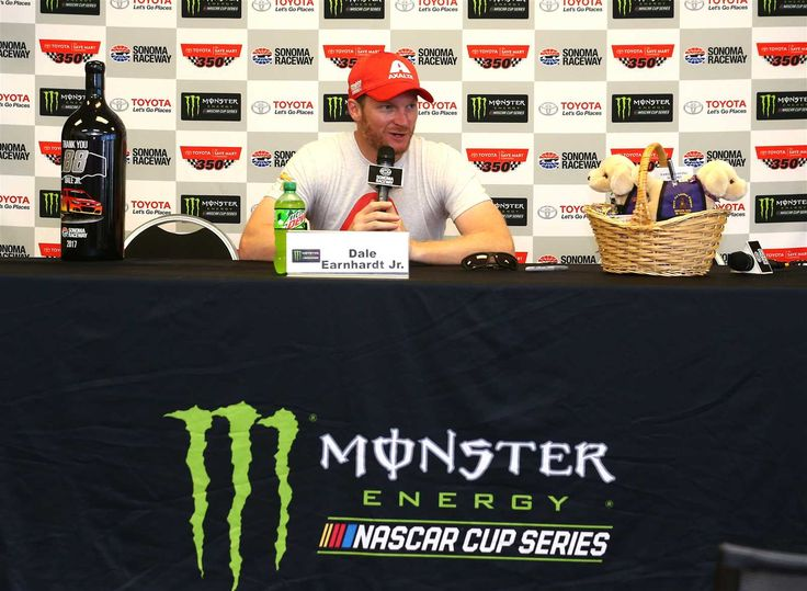At-track photos: Sonoma and Iowa Weekend Sunday, June 25, 2017 At Sonoma Raceway, Dale Earnhardt Jr. was presented with puppies -- these are just stuffed animals -- who will become service dogs named Dale, Junior and Amy in his (and his wife's) honor. Photo Credit: Sarah Crabill/Getty Images Photo: 50 / 79