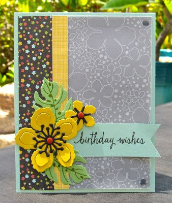 Krystal's Cards: Stampin' Up! Botanical Blooms Birthday Wishes #stampinup #krystals_cards #botanicalblooms #onlinecardclass