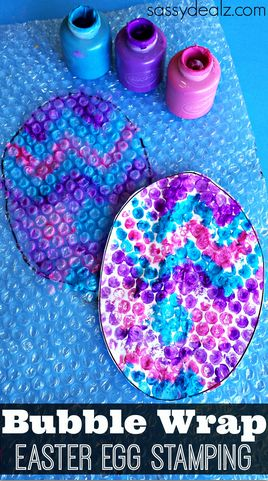 Get out some bubble wrap to make a cute Easter egg craft! It makes an awesome stamp using just paint!
