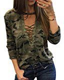 X-Future Women's Camo Long Sleeve Deep V-Neck Lace Up Sexy T-Shirt Top Green S