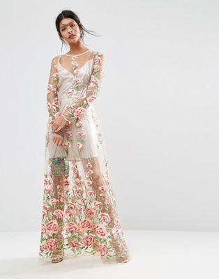 Платье миди с цветочной вышивкой и подкладкой-сорочкой цвета металлик ASOS SALON