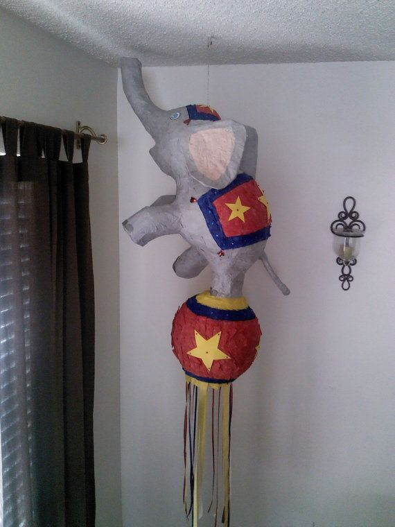 circus elephant pinata by SmashingFunCreations on Etsy, $65.00 ... can customize colors and size.
