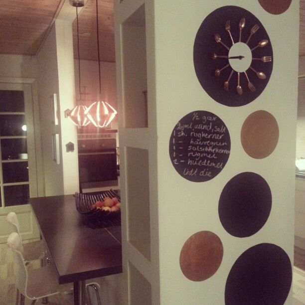 Wall art with blackboard and copper painting..