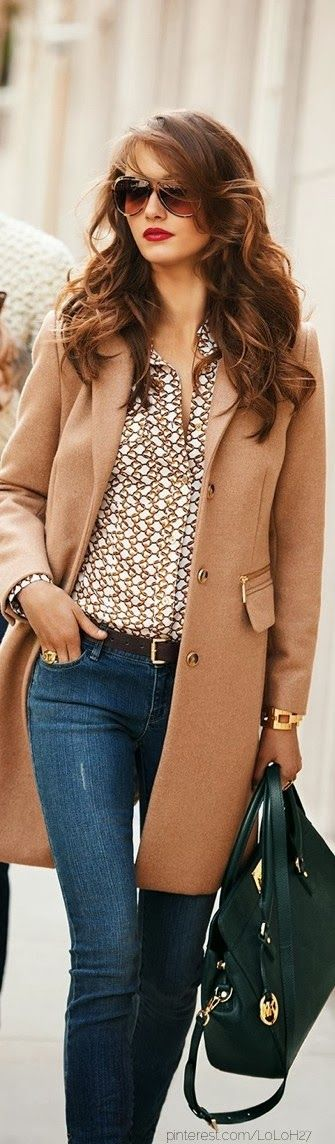 Adorable jacket, amazing shirt, jeans and hand bag for fall fashion: Outfits, Hair Colors, Style, Haircolor, Jeans, Michael Kors Fall, Red Lips, Camels Coats, Fall Fashion