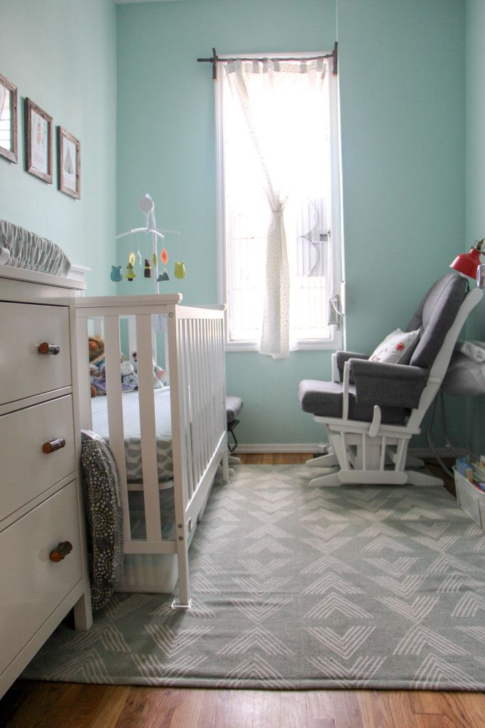 Mint Baby' room with white and grey Dutailier Glider via Project Nursery - IMG_4663