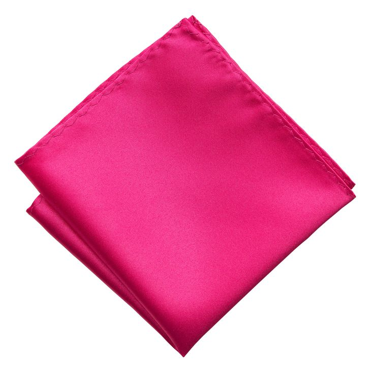 Fuchsia Pink Pocket Square. Solid Color Satin Finish, No Print
