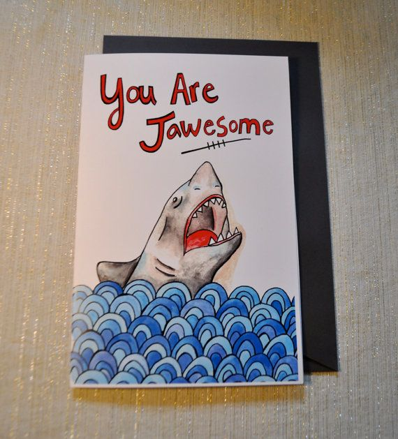 Shark in Ocean You are jawesome blank funny pun card by yayhooray