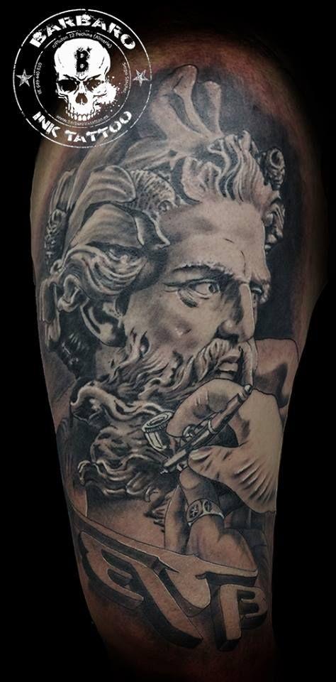 #tattoo #tattooed #tattooist #bestspaintattooartist #sculpturetattoo #blackandgreytattoo #poseidontattoo