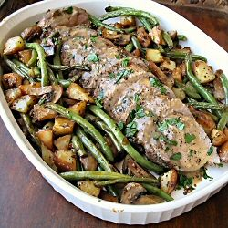 Balsamic and herb marinated pork tenderloin with oven roasted vegetables by thothersideoffifty: One skillet dinner. #Pork_Tenderloin #theothersideoffifty