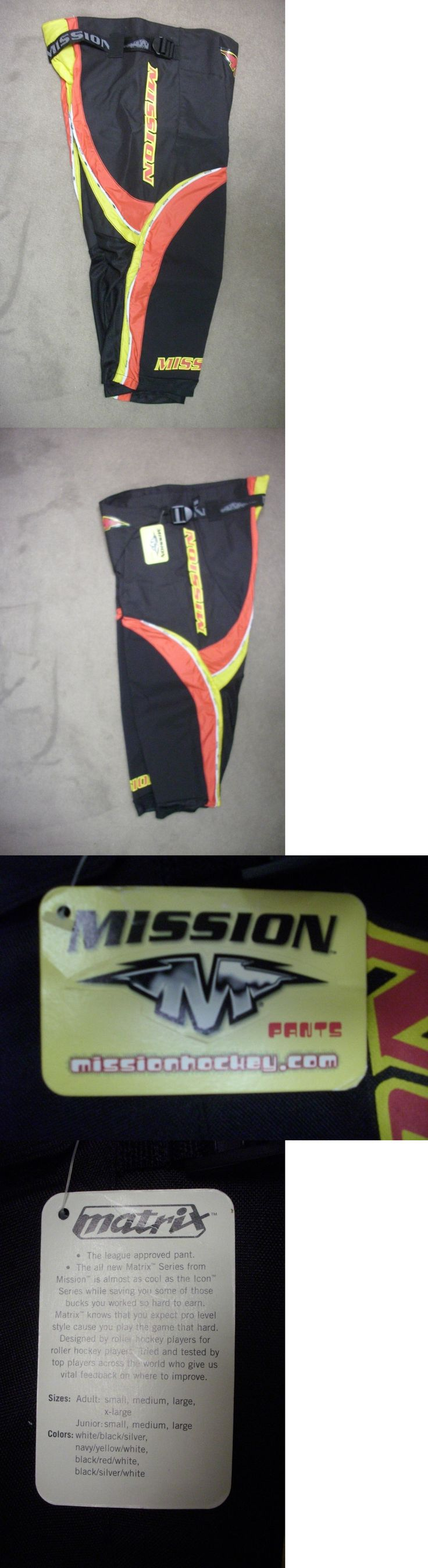Other Hockey Protective Gear 79767: New! Mission Matrix Roller Hockey Pants Junior Large $89 Black/Red/Yellow -> BUY IT NOW ONLY: $35.99 on eBay!