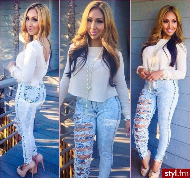 Fashion: pants Outfit. High waisted jeans. White blouse top