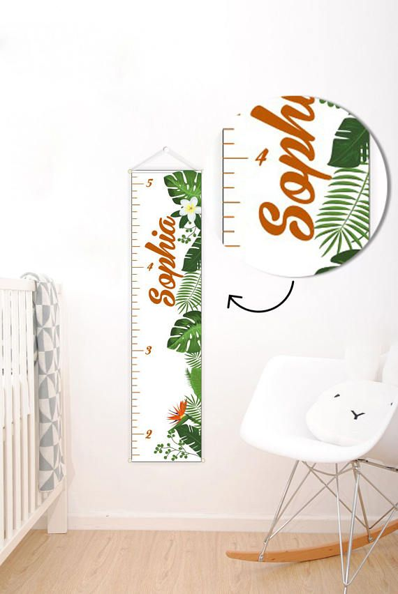 Personalized Growth Chart Tropical decor Tropical growth chart