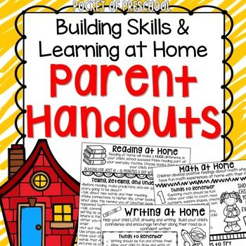 Parent handouts are an easy way to help parents support their childs learning at home!  Its super simple. Just print and send home!  You can send the parent letters home at the beginning of the year, on various parent nights, at parent teacher conferences, before summer, or attach to your newsletters throughout the year.
