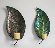 METAL LEAF WALL MOUNTED CANDLE HOLDER SCONCE FOR HOME & OFFICE DECOR (TWIN PACK)