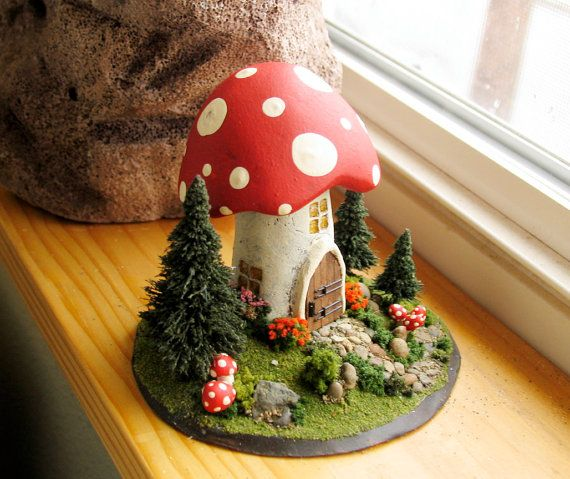 Attractive The Mushroom Fairy Messenger House   Childu0027s Room Or Fairy Shrine Decor    Miniature Fairy World Wih Trees And Stone Pathway