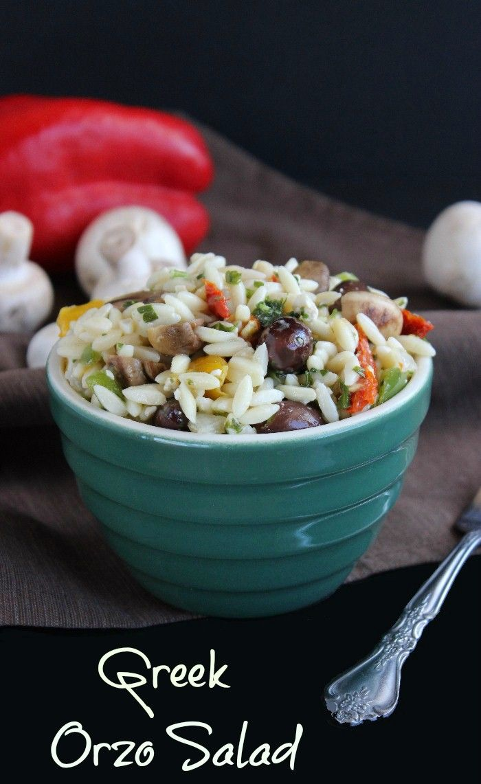 Greek Orzo Salad is loaded with little pasta and lots of flavorful veggies. Tossed in a lemony vinaigrette that is seasoned perfectly. Easy plus!!!