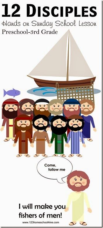 12 Disciples Sunday School Lesson for kids from Preschool, Kindergarten to elementary ages! Hands on activities, free printable 12 disciples game, 12 disciples craft and more.