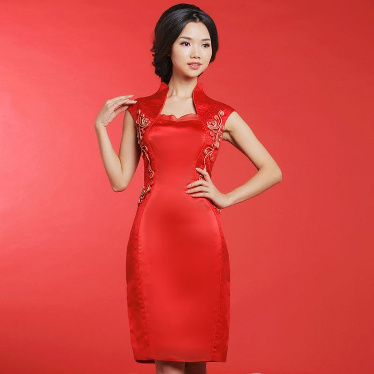 Fashion Stand Up Collar Cheongsam Style Dress Red
