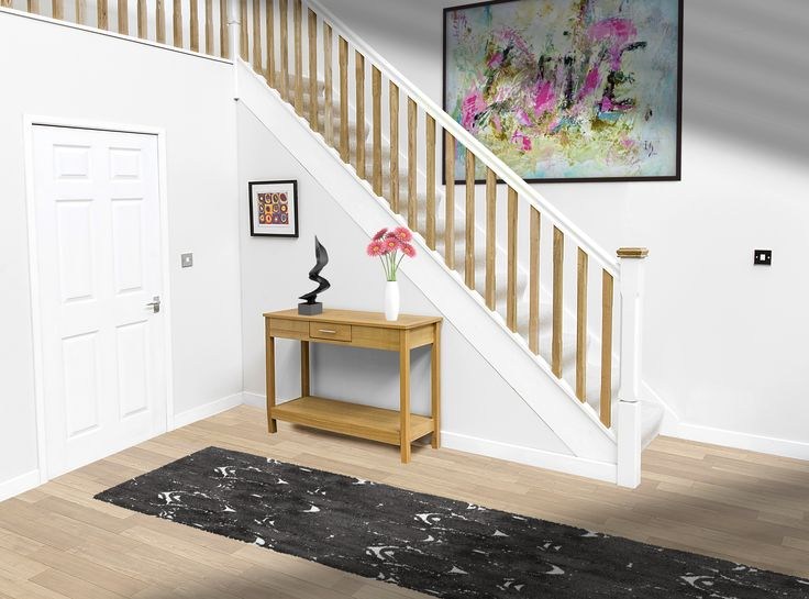 White Primed Handrail With Oak Spindles Modern