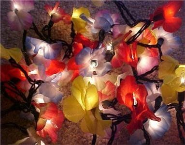 Hawaiian Flower Light String Garland - Tiki Party Decor ,  easy to diy with christmas lights and leis