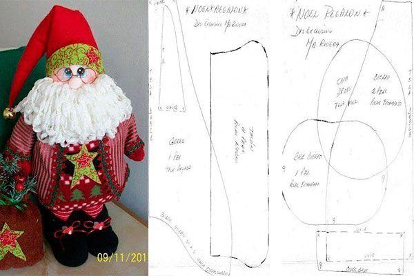 Moldes para hacer adornos de Santa Claus en fieltro.