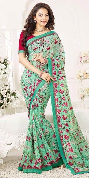 Heartily Green Color Floral Printed Silk Saree.