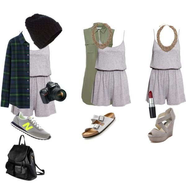 Grey romper 3 ways by jasmine-adisbeth on Polyvore featuring мода, Equipment, Uniqlo, H&M, MICHAEL Michael Kors, New Balance, Birkenstock, PARENTESI, Pieces and Accessorize