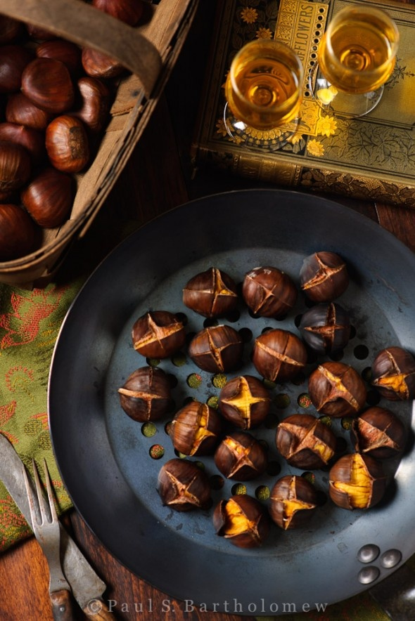 "Roasted Chestnuts: Well...I did the oven version. I'm not sure if I scored them incorrectly, if the texture and flavor is always odd, or if they just prefer to be ""roasted on an open fire""...verdict...no bueno. :("