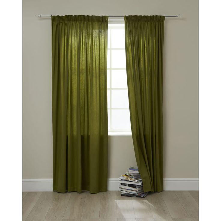 Wilko Curtains Twill Green Pencil Pleat 117x137cm