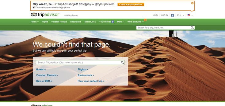 Trip Advisor 404 error page