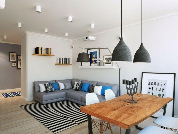 intérieur appartement design style scandinave canapé d'angle gris coussins luminaire suspendu