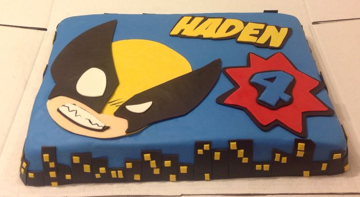 This is the third cake that I've made. Love the cute little Wolverine!