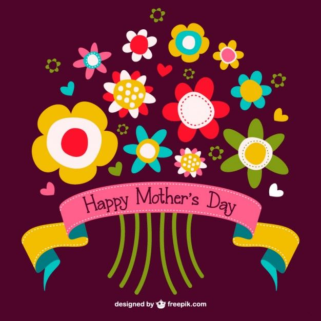 Mother's day flowers bouquet free graphics Free Vector