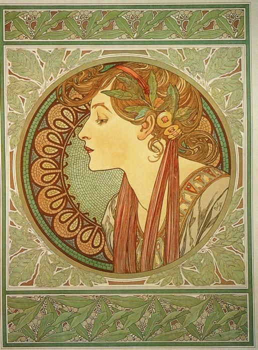 "Titled ""Laurel,"" this portrait by Mucha expresses the intricate details of the natural world and the grace of a classic female profile."