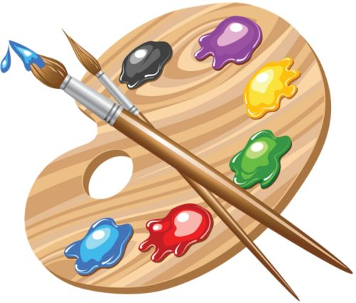 PAINT PALLETE AND BRUSHES CLIP ART
