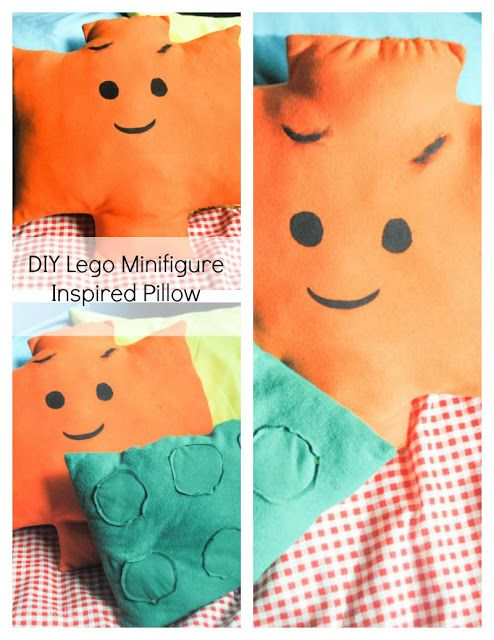 DIY Lego Mini-figure Inspired Pillow with FREE printable sewing pattern.
