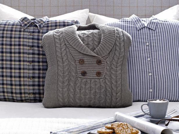 Turn an old flannel or a sweater into chic menswear pillows in just a few steps. So easy! www.hgtv.com/decorating-basics/a-sophisticated-bedroom-fit-for-winter-guests/pictures/page-4.html?soc=pinfave