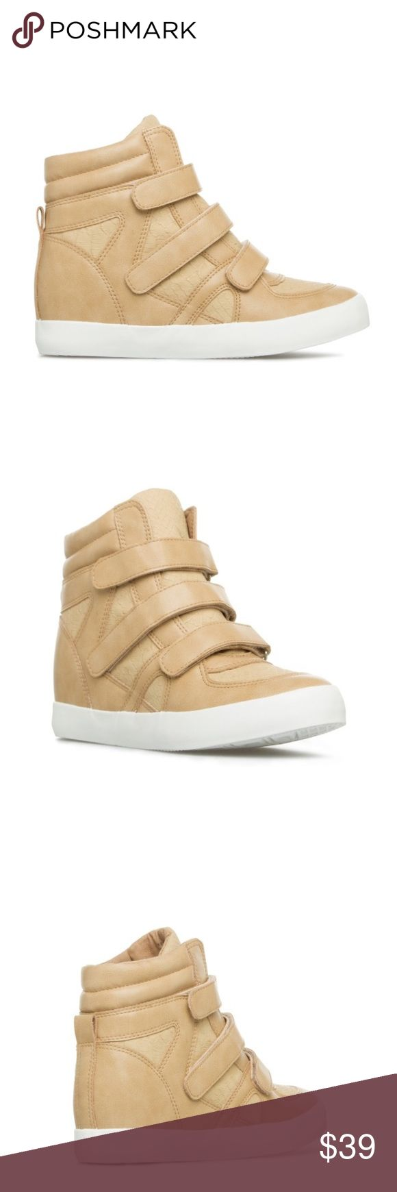 NWT Shoe Dazzle Tan Faux Leather Wedge Sneakers NWT Shoe Dazzle Tan Faux Leather Wedge Sneakers. Fit true to size. Currently available in sizes 6 and 8. Shoe Dazzle Shoes Sneakers