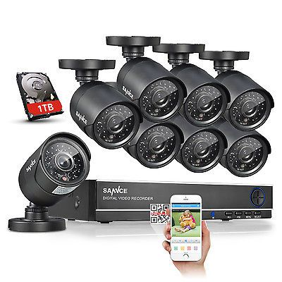Sannce 8ch Hdmi Dvr 8 Cctv Ir Outdoor Home Security Camera System 1tb Hard Drive