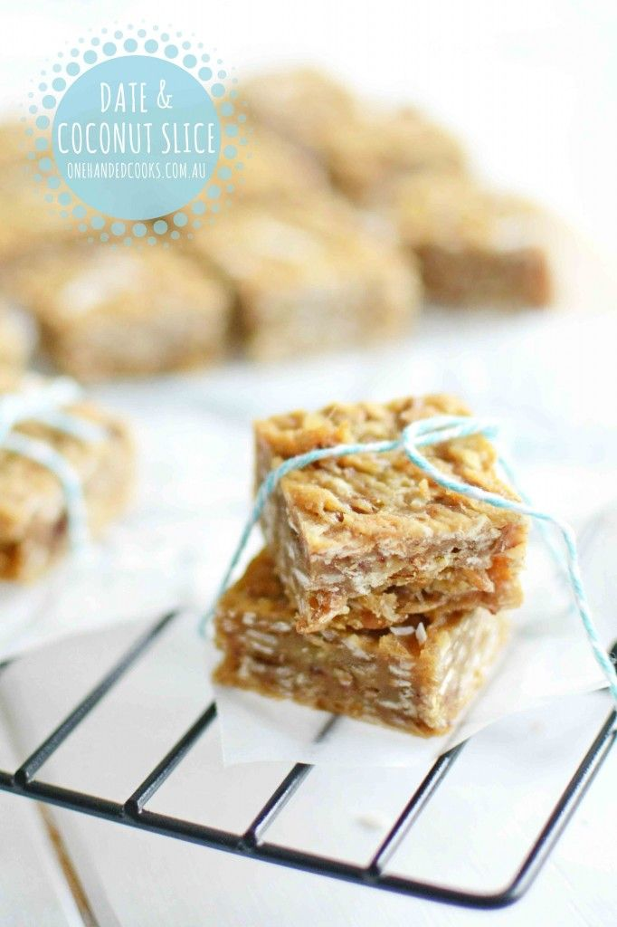 {NEW} DATE  COCONUT SLICE: This date and coconut slice has no added sugar and uses a mix of quinoa and wholemeal flours for an added nutritional boost. #onehandedcooks