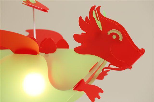 Lampe suspension enfant Dragon Vert et Rouge, Création Française R&M Coudert.