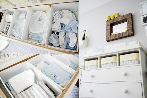 bins in the changing table to organize/corral misc baby gear - great idea to keep a nursery tidy!