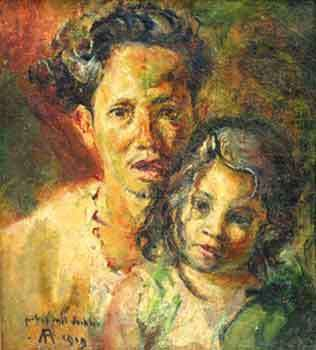 affandi - bersama kartika (one of his children) Kartika also became an artist.