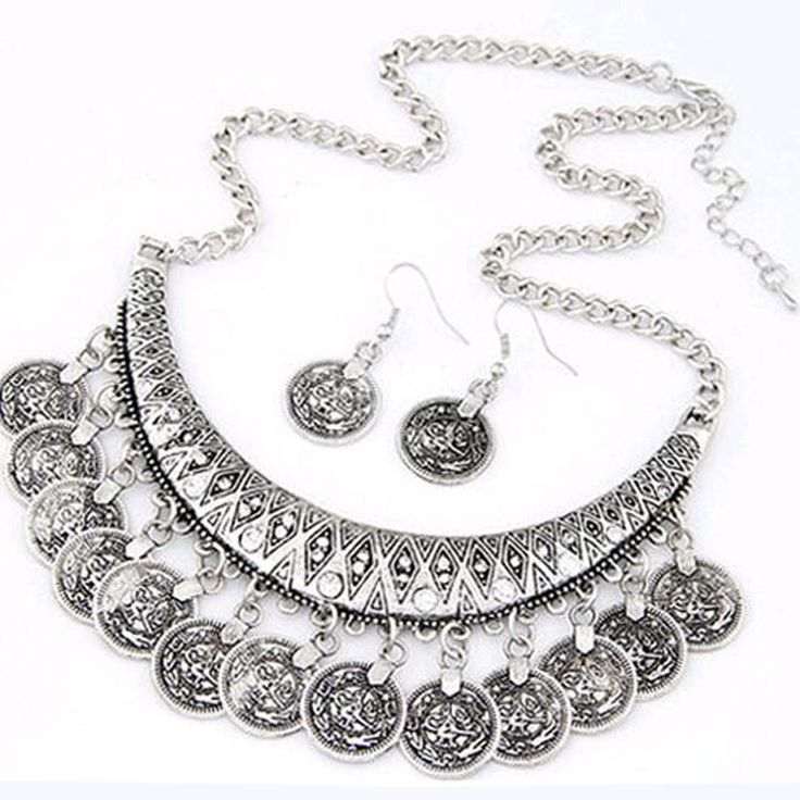 NEW WOMEN FASHION COIN STYLE ALLOY NECKLACE WITH EARRINGS JEWELRY SET