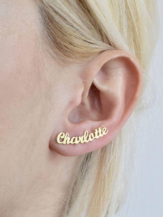 4c99509485491 Name Earring - Name Stud Earring - Gold Name Earring - Personalized ...