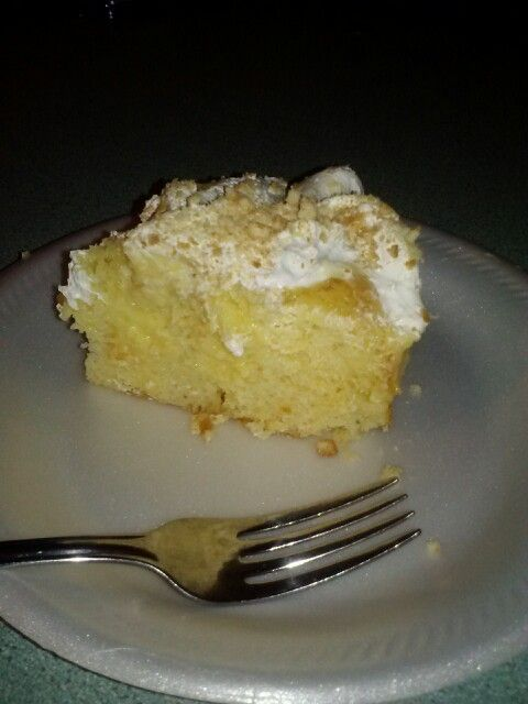 This is the banana cream poke cake I found here. And it is delicious!